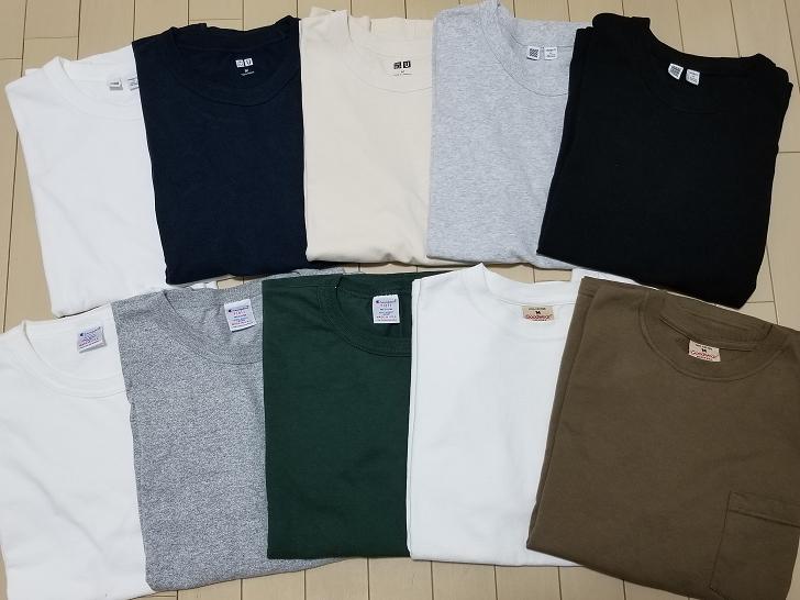 並べられた10枚のTシャツ