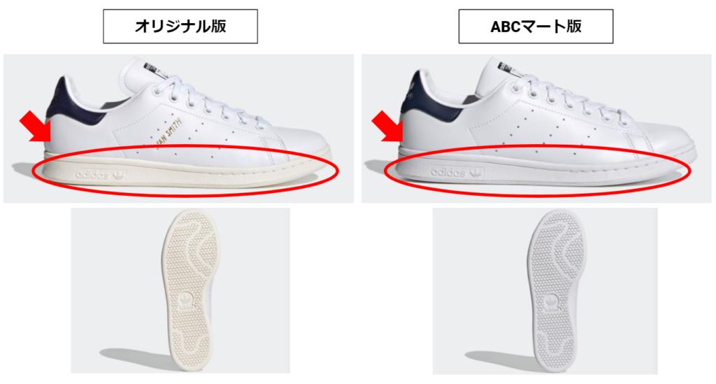 スタンスミスのABCマート版とオリジナル版のソールの色の違い