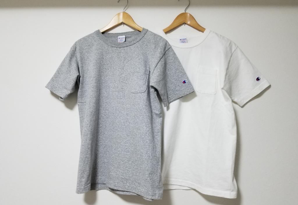 チャンピオンT1011の半袖のホワイトとグレーのTシャツ