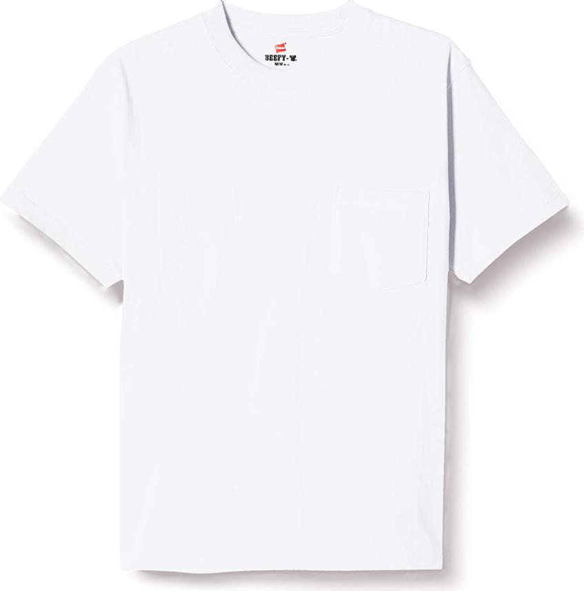 ヘインズ・ビーフィーの胸ポケット付きのホワイトカラー