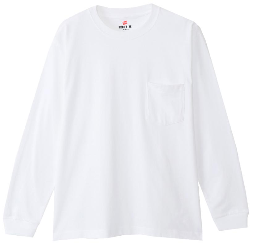 ヘインズ・ビーフィーの長袖のポケット付きホワイトカラー