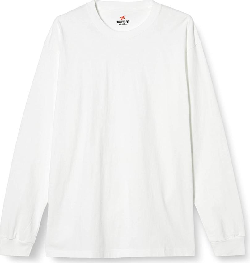 ヘインズ・ビーフィーの長袖の胸ポケット付きのホワイトカラー