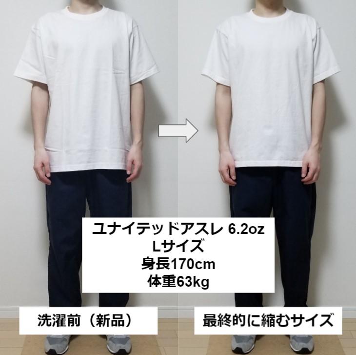 ユナイデットアスレ6.2oz(オンス)のLサイズの洗濯前と洗濯後の比較
