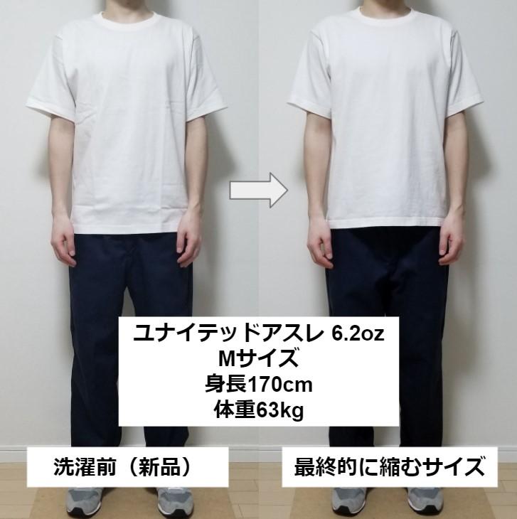ユナイデットアスレ6.2oz(オンス)のMサイズの洗濯前と洗濯後の比較