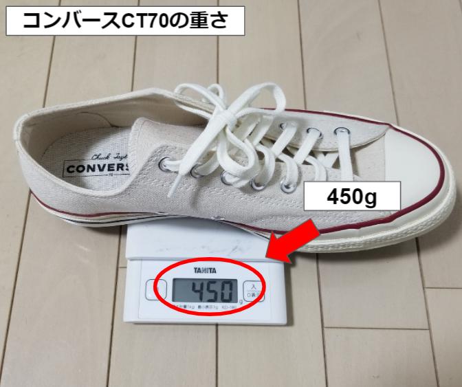 コンバースCT70の片足の重さ