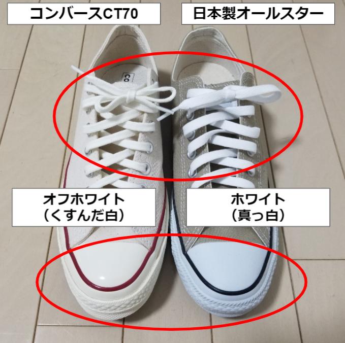 コンバースCT70と日本製オールスターの違い